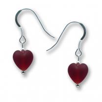 Murano Glass Heart Earrings - Esta Rosso Matte