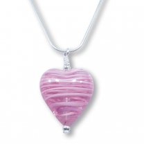 Murano Glass Heart Pendant - Esta Fili Cerise-Pink