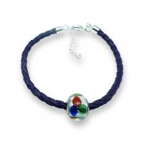 Murano glass charm bead nappa leather bracelet – Venezia Cinque