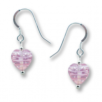Murano Glass Heart Earrings - Esta Fili Cerise-Pink
