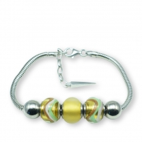 Murano glass charm bead silver bracelet - Florence