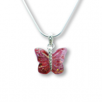Murano Glass Butterfly Pendant – Farfalle Cerise