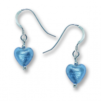 Murano Glass Heart Earrings - Esta Azure