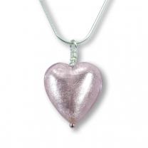 Murano Glass Heart Pendant - Esta Rosa Silver