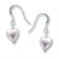 Murano Glass Heart Earrings - Esta Rosa Silver