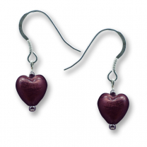 Murano Glass Heart Earrings - Esta Ruby