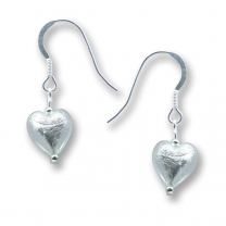 Murano Glass Heart Earrings - Esta Silver