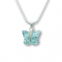 Murano Glass Butterfly Pendant – Farfalle Crystallo Blue