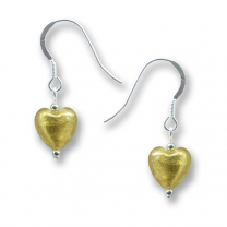Murano Glass Heart Earrings - Esta Gold