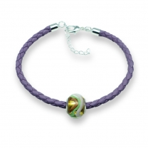 Murano glass charm bead nappa leather bracelet – Venezia Uno