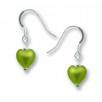 Murano Glass Heart Earrings - Esta Mela Verde
