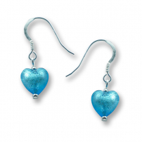 Murano Glass Heart Earrings - Esta Aquamarine