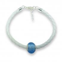 Murano glass charm bead nappa leather bracelet - venezia dodici blue/violet