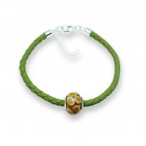 Murano glass charm bead nappa leather bracelet – Venezia Otto