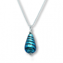 Murano glass 'drop' pendant - zebratto blue