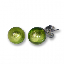 Murano Glass Stud Earrings - Esta Lime