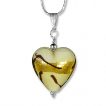 Murano Glass Heart Pendant - Carmelita