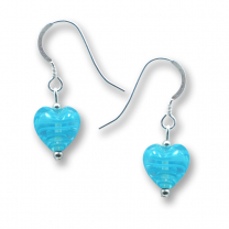 Murano Glass Heart Earrings - Esta Fili Blue