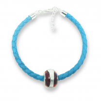 Murano glass charm bead nappa leather bracelet - venezia sedici crimson