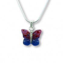 Murano Glass Butterfly Pendant – Farfalle Cremisi/Blue