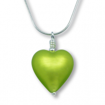 Murano Glass Heart Pendant - Esta Mela Verde