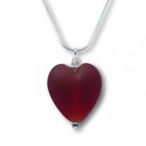Murano Glass Heart Pendant - Esta Rosso Matte