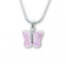 Murano Glass Butterfly Pendant – Farfalle Crystallo Rosa
