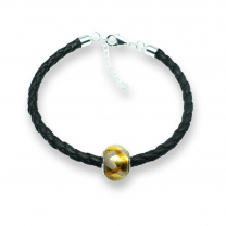 Murano glass charm bead nappa leather bracelet - Venezia Tre