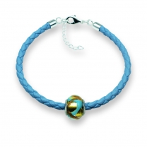Murano glass charm bead nappa leather bracelet – Venezia Due