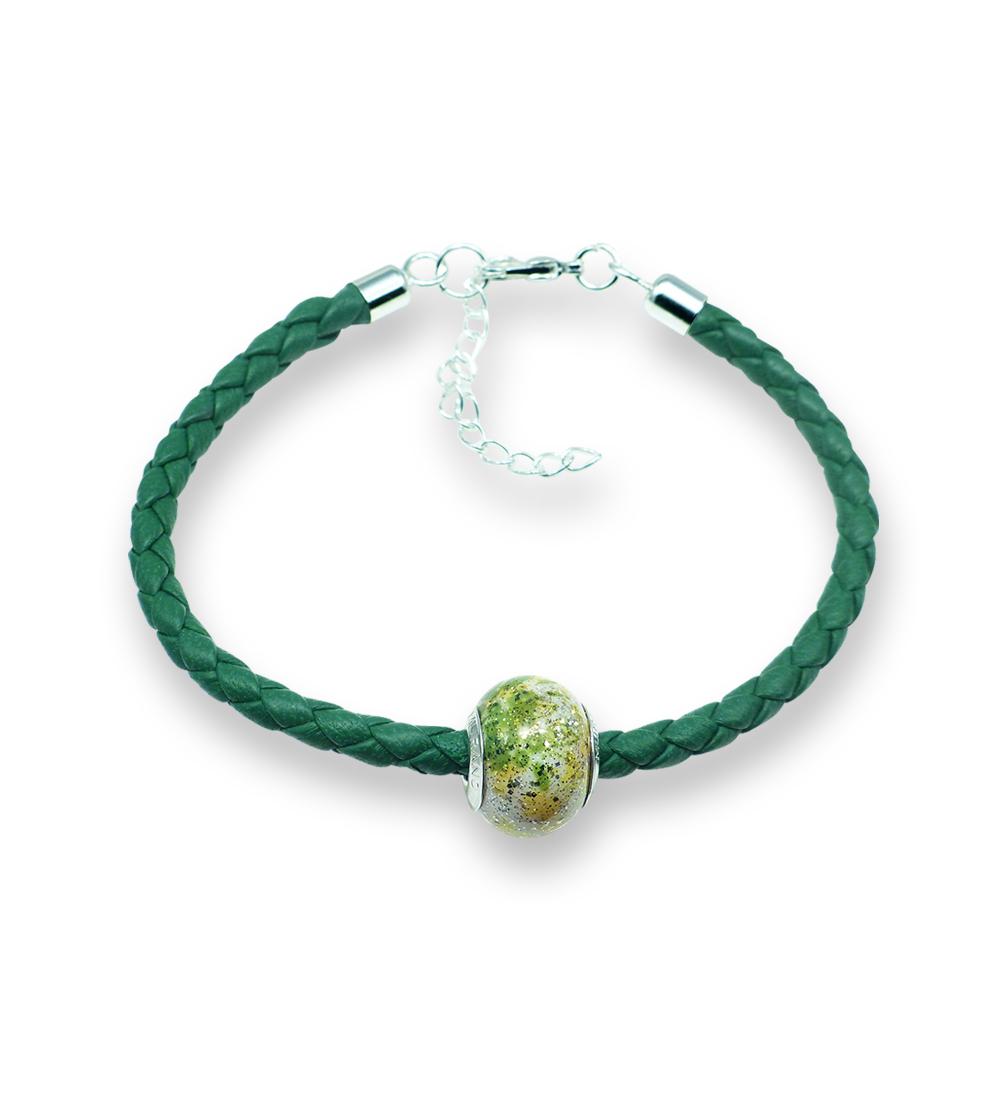 Murano glass charm bead nappa leather bracelet – Venezia Sei Photo