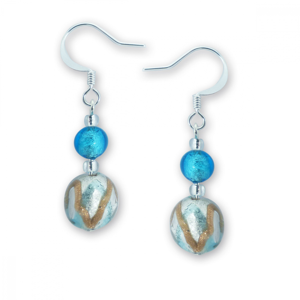 Murano Glass Earrings - Oliva Silver Photo