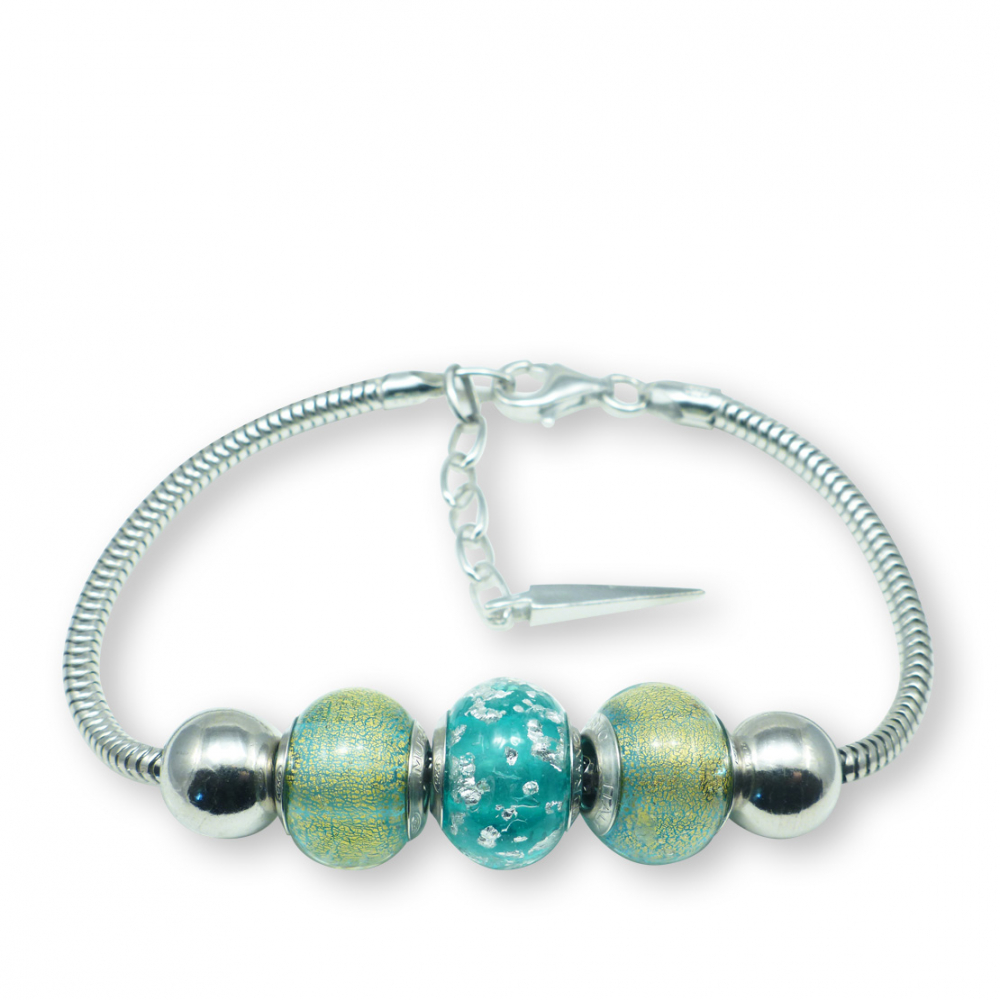 Murano glass charm bead silver bracelet - Rimini Photo