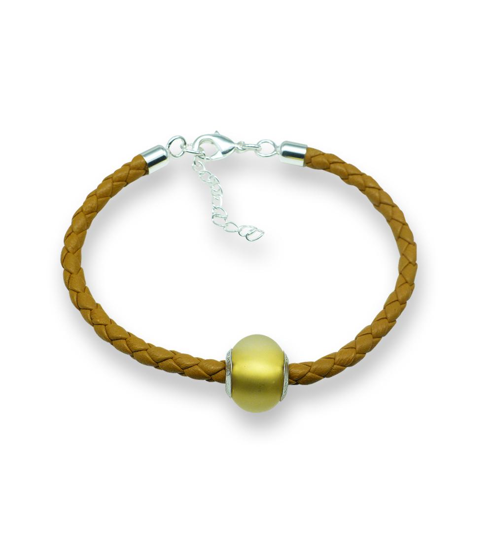 Murano glass charm bead nappa leather bracelet – Venezia Sette Photo