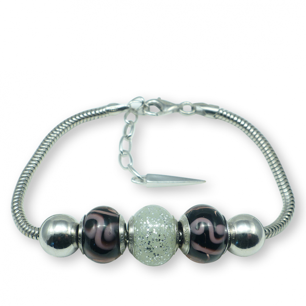 Murano glass charm bead silver bracelet - Bologna Photo