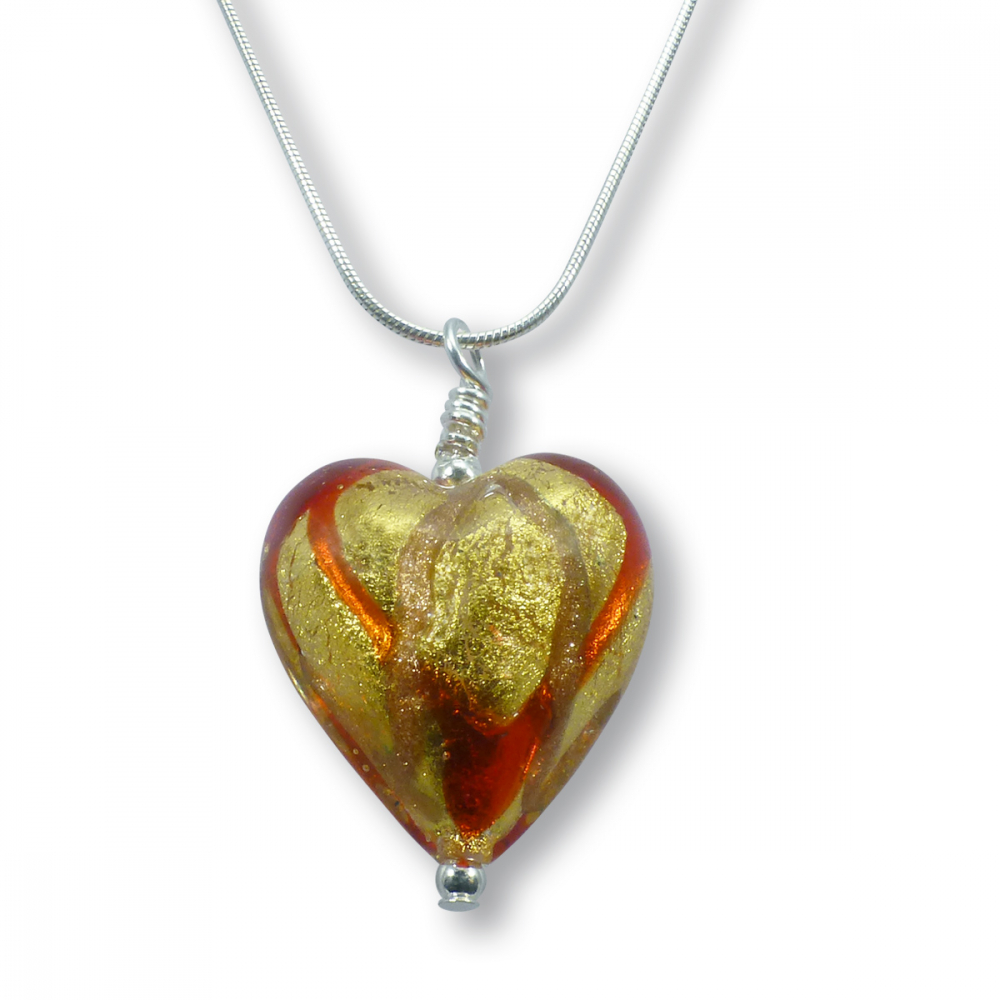 Mara Rosso Murano Glass Heart Pendant Photo