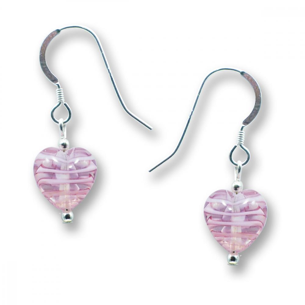 Murano Glass Heart Earrings - Esta Fili Cerise-Pink Photo