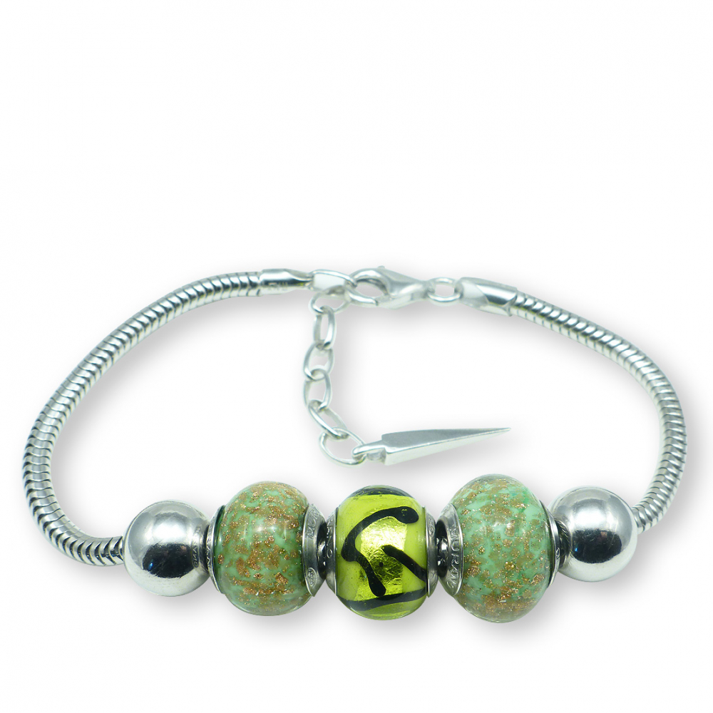 murano glass sterling silver charm bracelet turin