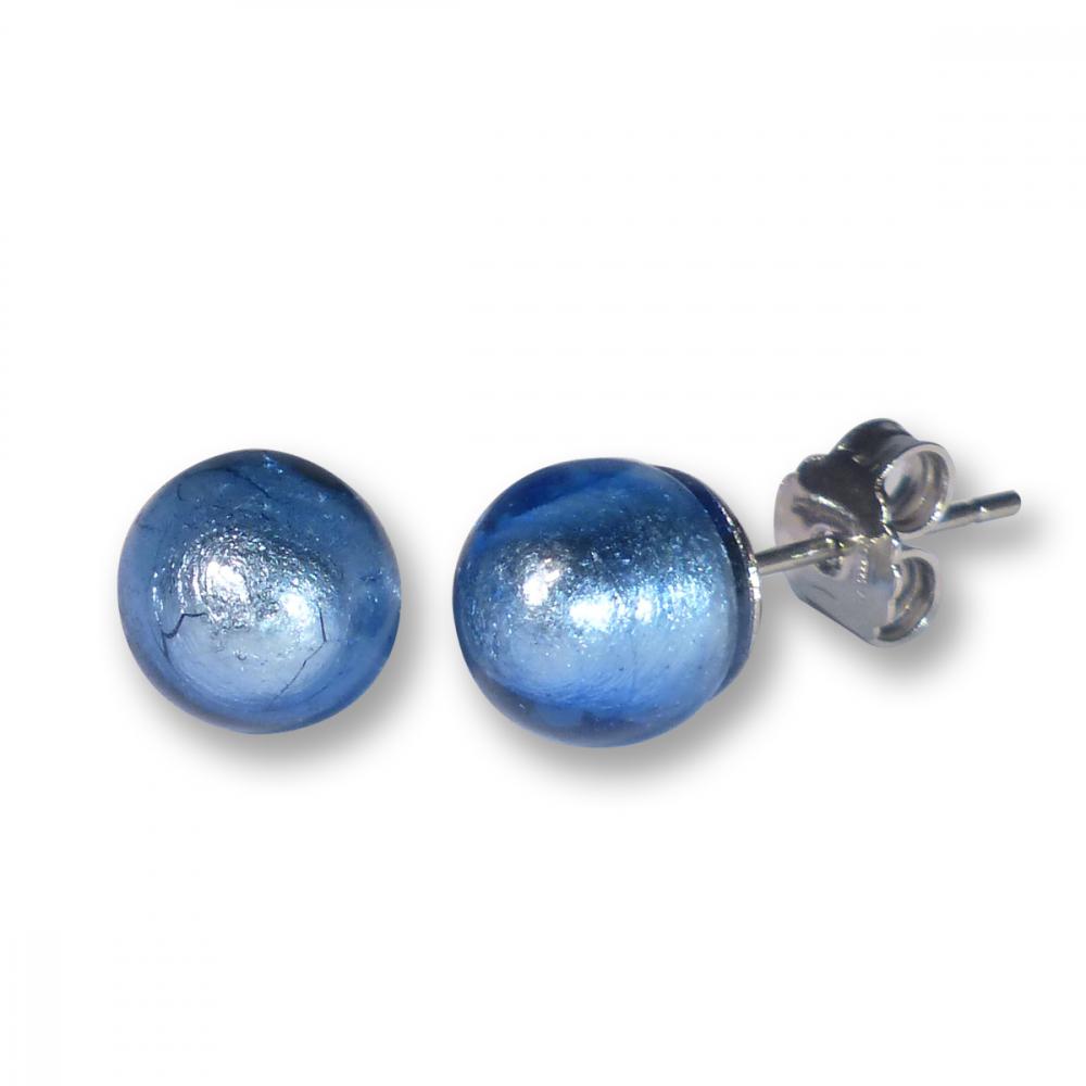 Murano Glass Stud Earrings - Esta Azure Photo