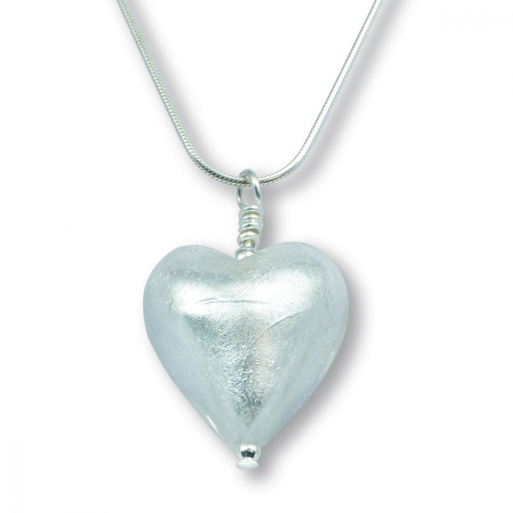 Murano Glass Heart Pendant - Esta Silver Photo