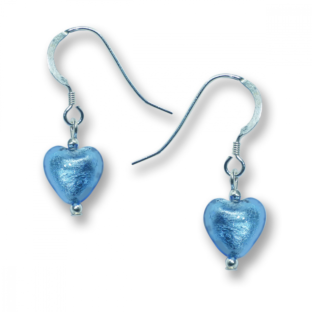 Murano Glass Heart Earrings - Esta Azure Photo