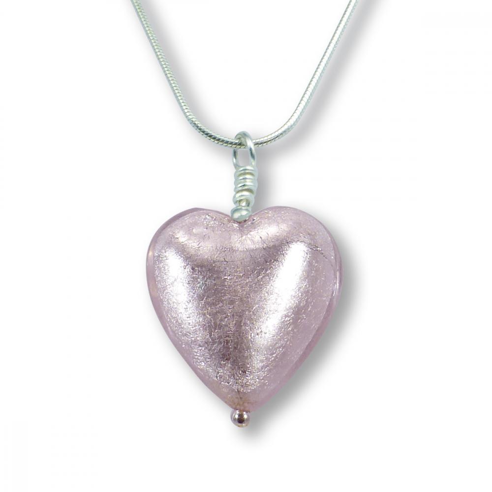 Murano Glass Heart Pendant - Esta Rosa Silver Photo