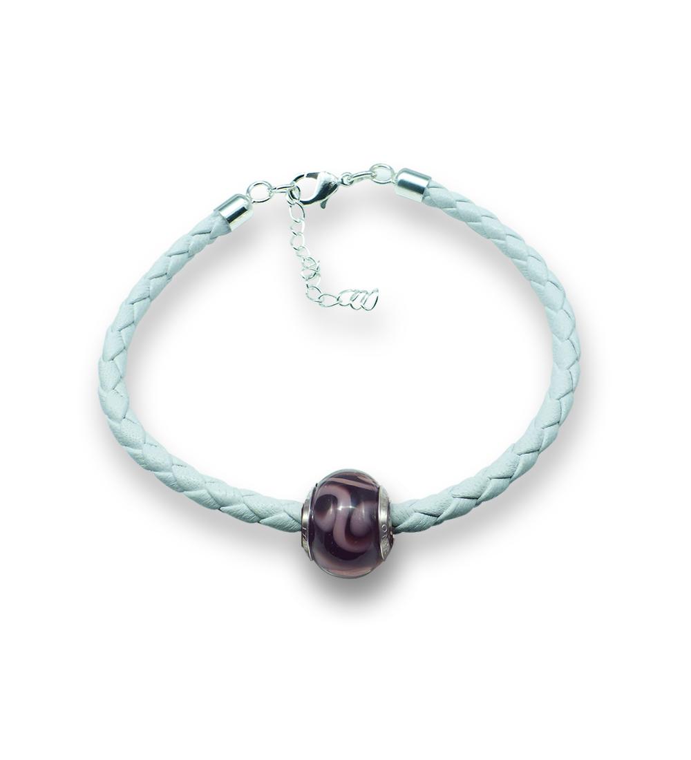 Murano glass charm bead nappa leather bracelet – Venezia Diece Photo