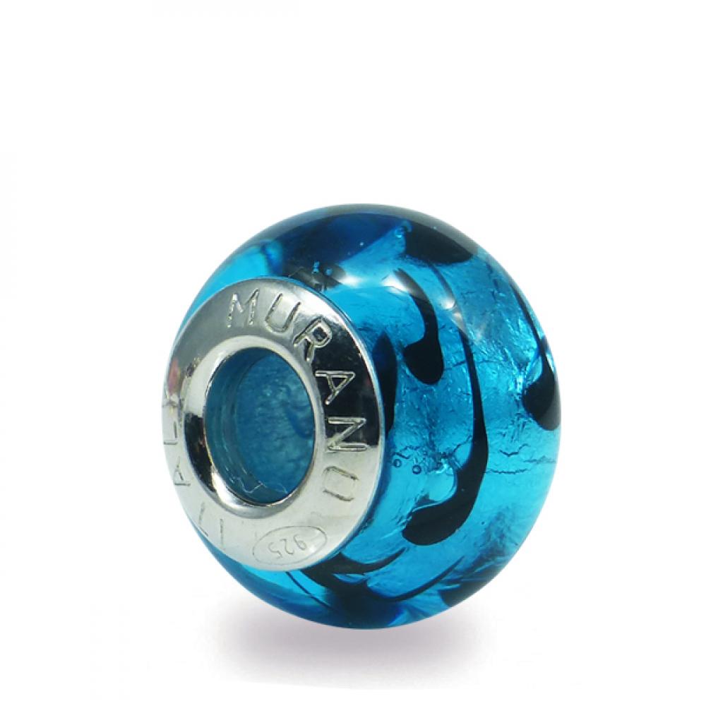 Murano glass charm bead - Quattordici-blu Photo