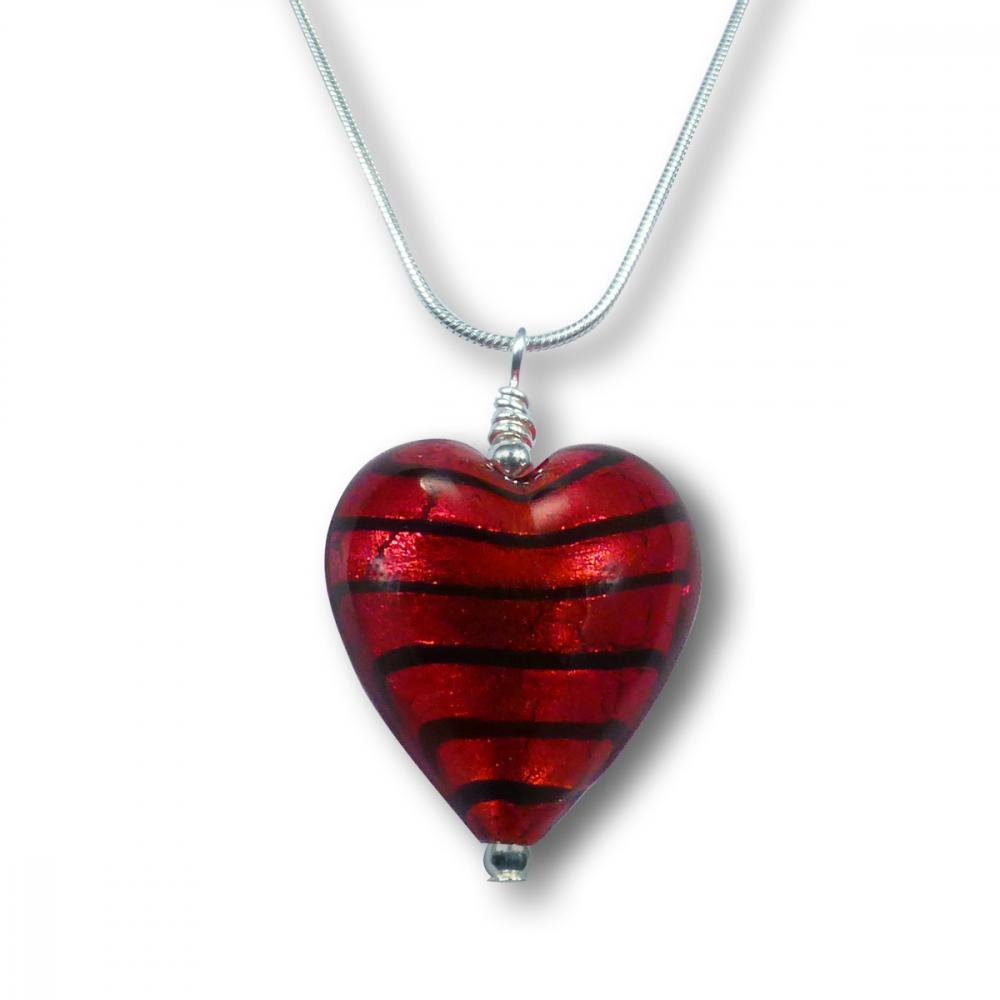 Murano Glass Heart Pendant - Esta Rosso Zebrato Photo