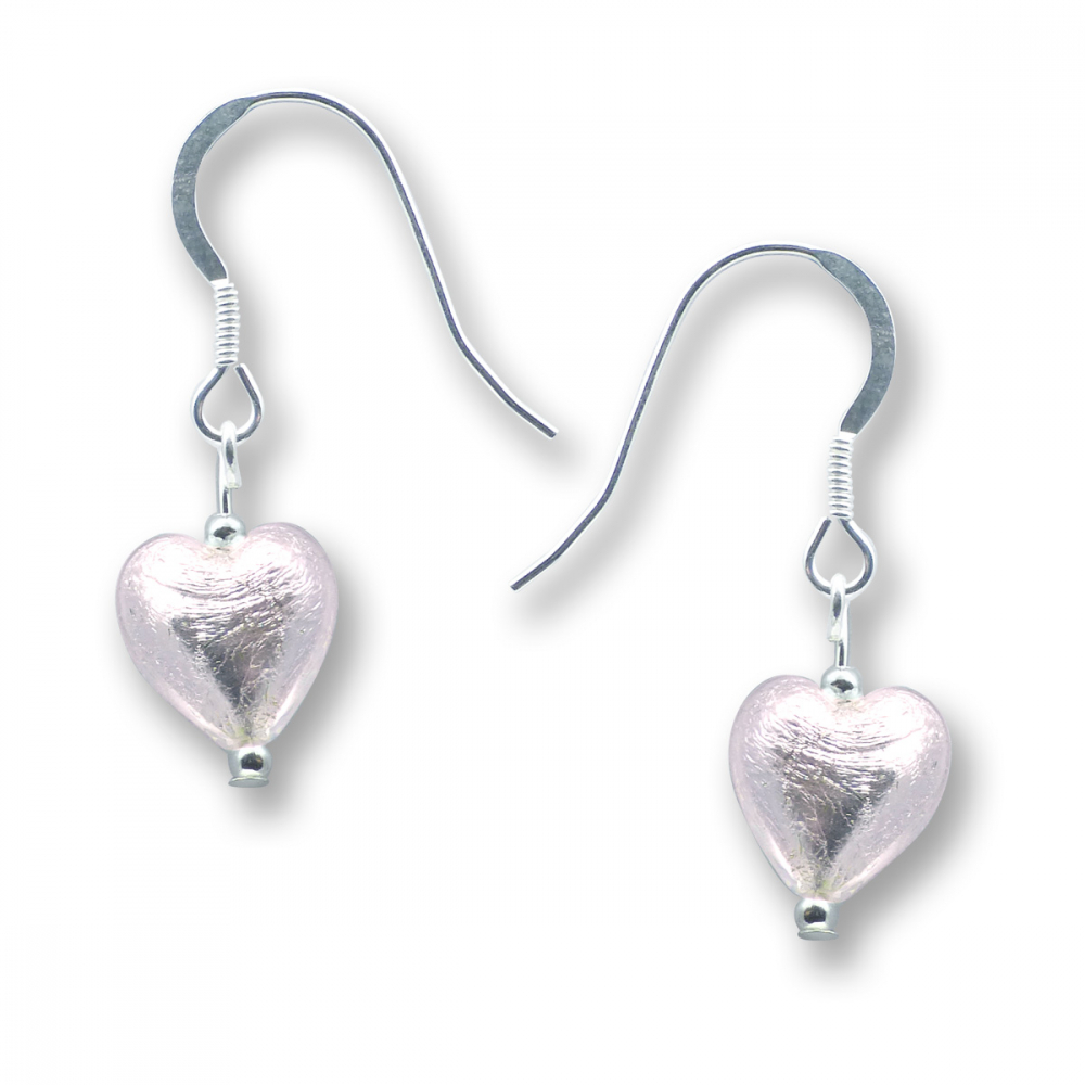 Murano Glass Heart Earrings - Esta Rosa Silver Photo