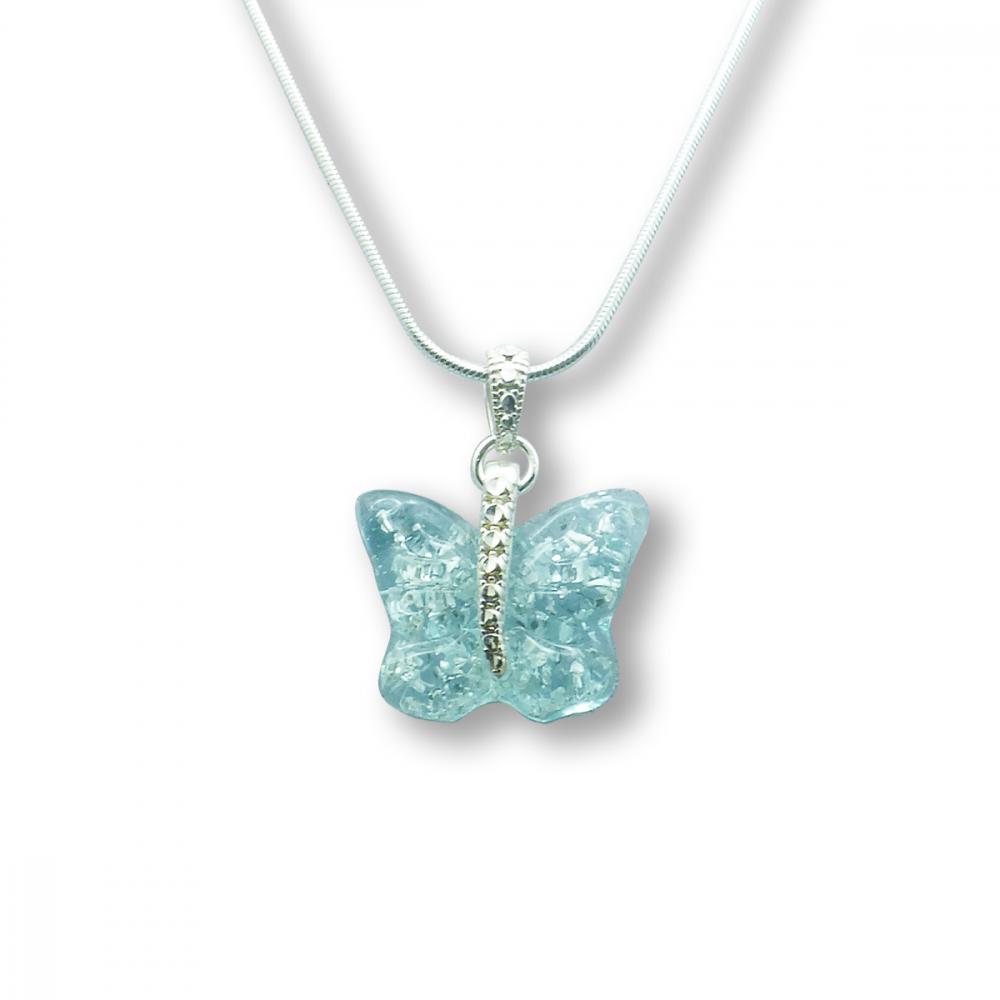 Murano Glass Butterfly Pendant – Farfalle Crystallo Blue Photo