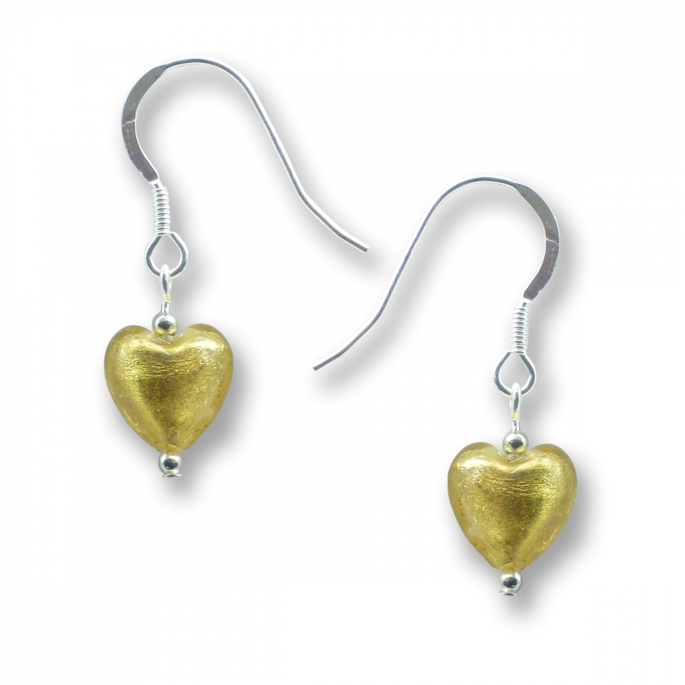 Murano Glass Heart Earrings - Esta Gold Photo