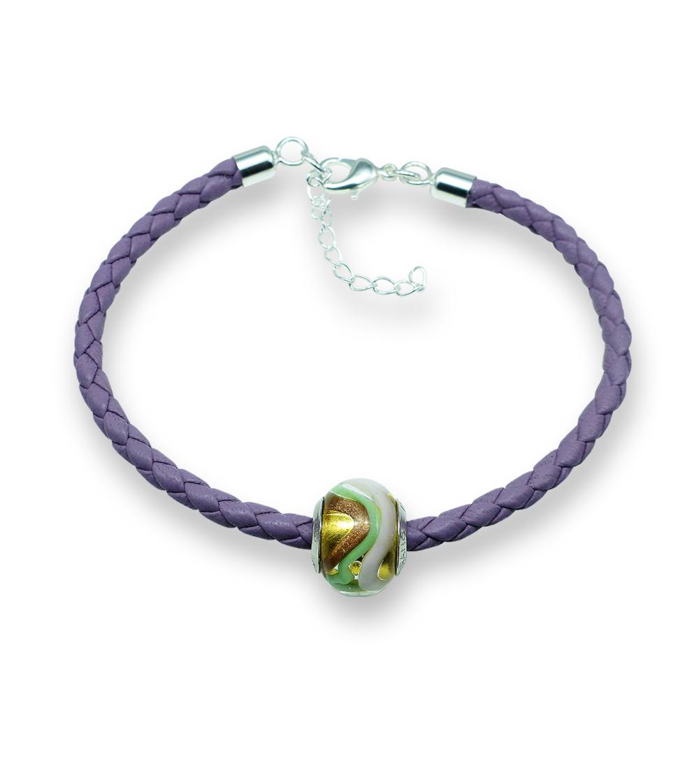 Murano glass charm bead nappa leather bracelet – Venezia Uno Photo