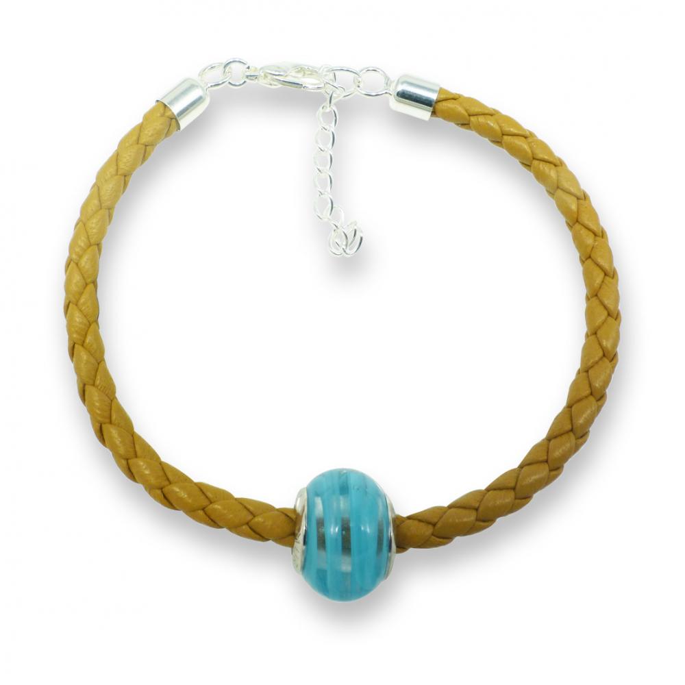 Murano glass charm bead nappa leather bracelet - venezia undici blue Photo