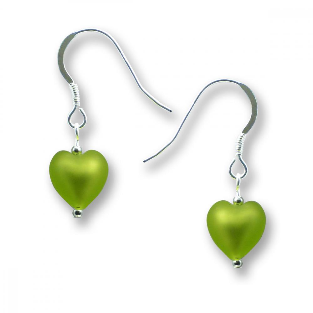 Murano Glass Heart Earrings - Esta Mela Verde Photo